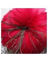 1 шт. Красный цвет. Цветок из перьев птиц