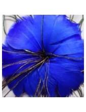 1 шт. Синий цвет. Цветок из перьев птиц