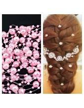 Розовый цвет. Нить жемчужинка   для волос
