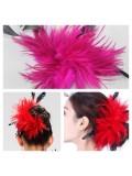 TY-10. Фуксия цвет. Заколка из перьев птиц для волос