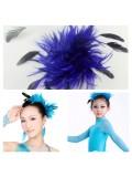 TY-7. Синий цвет. Заколка из перьев птиц для волос