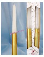 2 шт. Бело-золотой цвет. Свеча классическая в коробочке.  23 мм х 23 мм х 250 мм