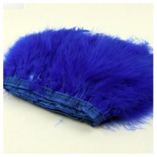 1 м. Синий цвет. Тесьма из перьев боа. Ширина 12-15 см.