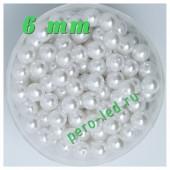 Белый цвет.  Жемчужные бусинки имитация. 6 мм.  200 шт