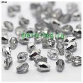 Серебро прозрачное цвет. Капелька хрустальная. Стекло бусинка   70шт+/-3 шт.  4 мм  #11