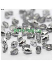 Серебро прозрачный цвет. Капелька хрустальная. Стекло бусинка. 60шт+/-3 шт.  6 мм  #3