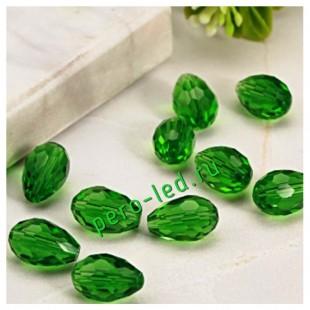 Зеленый цвет. Капелька хрустальная. Стекло бусинка. 70шт+/-3 шт.  4 мм  #8