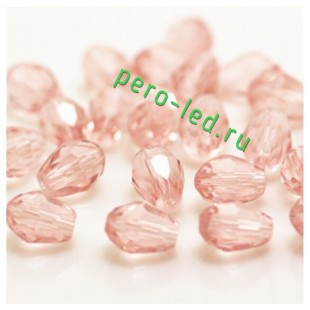 Розовый прозрачный цвет. Капелька хрустальная. Стекло бусинка   70шт+/-3 шт.  4 мм  #3