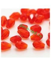 Красный прозрачный цвет. Капелька хрустальная. Стекло бусинка. 60шт+/-3 шт.  6 мм  #4
