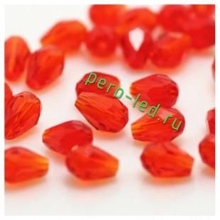 Красный цвет. Капелька хрустальная. Стекло бусинка   70шт+/-3 шт.  4 мм  #5