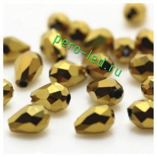Золото цвет. Капелька хрустальная. Стекло бусинка. 60шт+/-2 шт.  8 мм  #9