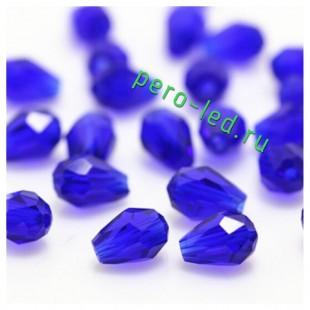 Синий цвет. Капелька хрустальная. Стекло бусинка  70шт+/-3 шт.  4 мм  #6
