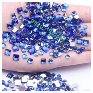 Синий цвет. Кристаллы квадратные. 50*50. Стекло  10 шт.  #9