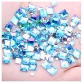 Голубой хамелеон цвет. Кристаллы квадратные. 50*50. Стекло  10 шт.  #14