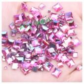 Фуксия хамелеон цвет. Кристаллы квадратные. 50*50. Стекло 10 шт. #16