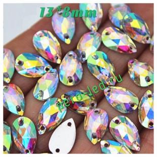 Хамелеон цвет. Стразы Кристаллы акриловые с огранкой. 13*8 мм.  20 шт  #45