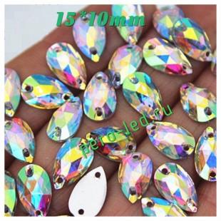 Хамелеон цвет. Стразы Кристаллы акриловые с огранкой. 15*10 мм. 10 шт  #49