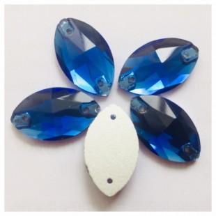 Синий цвет. Стразы стекло 20*13.  1 шт.  Navette #20
