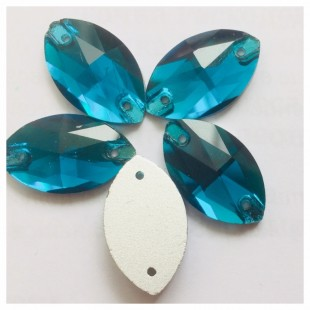 Голубой цвет. Стразы стекло 20*13.  1 шт.  Navette #20