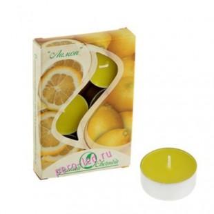 6 шт.  Лимон. Набор чайный ароматизированных свечей в гильзе. 1уп.