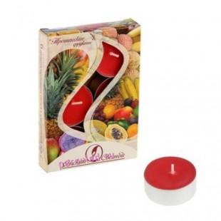 6 шт.  Тропические фрукты. Набор чайный ароматизированных свечей в гильзе. 1уп.
