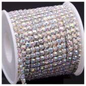 Белый хамелеон цвет. Стразы кристаллы на цепочке. Основание серебро.  1 м. №20