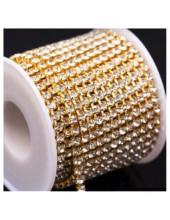 Белый цвет. Стразы кристаллы на цепочке. Основание золото. 1 м. №16