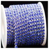 Синий цвет. Стразы кристаллы на цепочке. Основание серебро.  1 м. №16