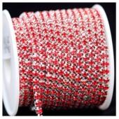 Красный цвет. Стразы кристаллы на цепочке. Основание серебро.  1 метр. №12