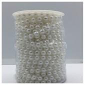 1 м. Белый цвет. Жемчужная нить бусинки полубусинки. 8 мм. Н-2