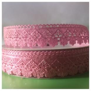 Е-404. 20 м. Розовый цвет.  Тесьма кружевная. Зигзаг 1.8 см