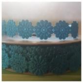 М-8. 20 м. Голубой цвет цвет. Тесьма кружевная. Цветочек 1.5 см