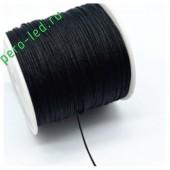 Черный цвет. Нейлоновый шнур/нить из полеэстера 0.8 мм. Для бисера, макраме, плетения. 100м/кат