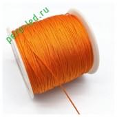 Оранжевый цвет. Нейлоновый шнур/нить из полеэстера 0.8 мм. Для бисера, макраме, плетения. 100м/кат