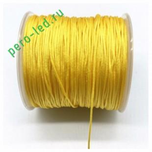 Желтый цвет. Нейлоновый шнур/нить из полеэстера 0.8 мм. Для бисера, макраме, плетения. 100м/кат
