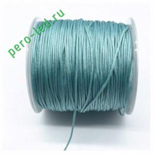 Голубой цвет. Нейлоновый шнур/нить из полеэстера 0.8 мм. Для бисера, макраме, плетения. 100м/кат