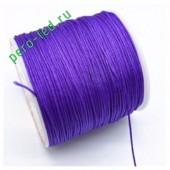 Фиолетовый цвет. Нейлоновый шнур/нить из полеэстера 0.8 мм. Для бисера, макраме, плетения. 100м/кат