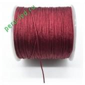 Бордо цвет. Нейлоновый шнур/нить из полеэстера 0.8 мм. Для бисера, макраме, плетения. 100м/кат