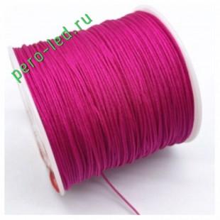 Фуксия цвет. Нейлоновый шнур/нить из полеэстера 0.8 мм. Для бисера, макраме, плетения. 100м/кат