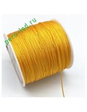 Желто-оранж цвет. Нейлоновый шнур/нить из полеэстера 0.8 мм. Для бисера, макраме, плетения. 100м/кат