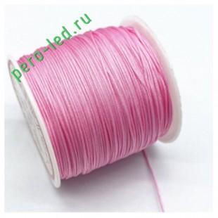 Розовый цвет. Нейлоновый шнур/нить из полеэстера 0.8 мм. Для бисера, макраме, плетения. 100м/кат