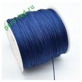 Синий цвет. Нейлоновый шнур/нить из полеэстера 0.8 мм. Для бисера, макраме, плетения. 100м/кат