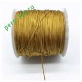 Золотистый цвет. Нейлоновый шнур/нить из полеэстера 0.8 мм. Для бисера, макраме, плетения. 100м/кат