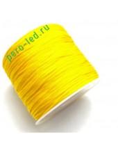 Лимонный цвет. Нейлоновый шнур/нить из полеэстера 0.8 мм. Для бисера, макраме, плетения. 100м/кат