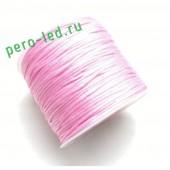 Бледно-розовый цвет. Нейлоновый шнур/нить из полеэстера 0.8 мм. Для бисера, макраме, плетения. 100м/кат