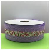 25 м. Фиолетовый цвет. Тесьма с кружевом. 4 см. К-70