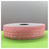 25 м. Розовый цвет. Тесьма с цветочком. 2.5 см. М-01