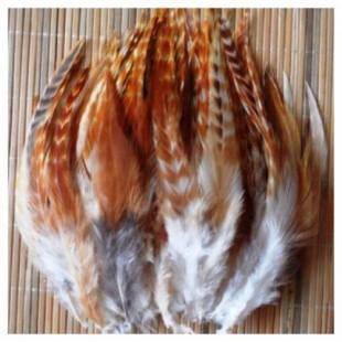 508. 20 шт.  Рыжий цвет. Перья американского петуха 6-10 см