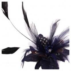 СС-1. Черный цвет. Заколки из перьев птиц для волос и броши