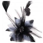 СС-7. Темно-синий цвет. Заколки из перьев птиц для волос и броши